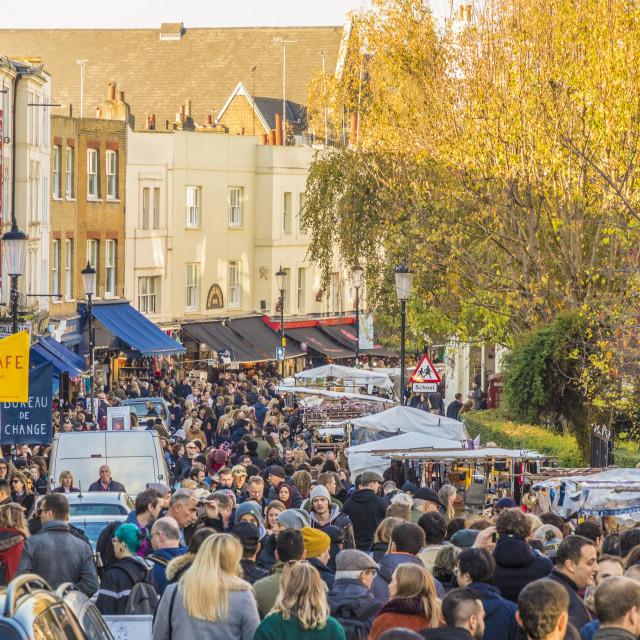 """Portobello Road market, in Notting Hill, in London, England, United Kingdom,..."" stock image"