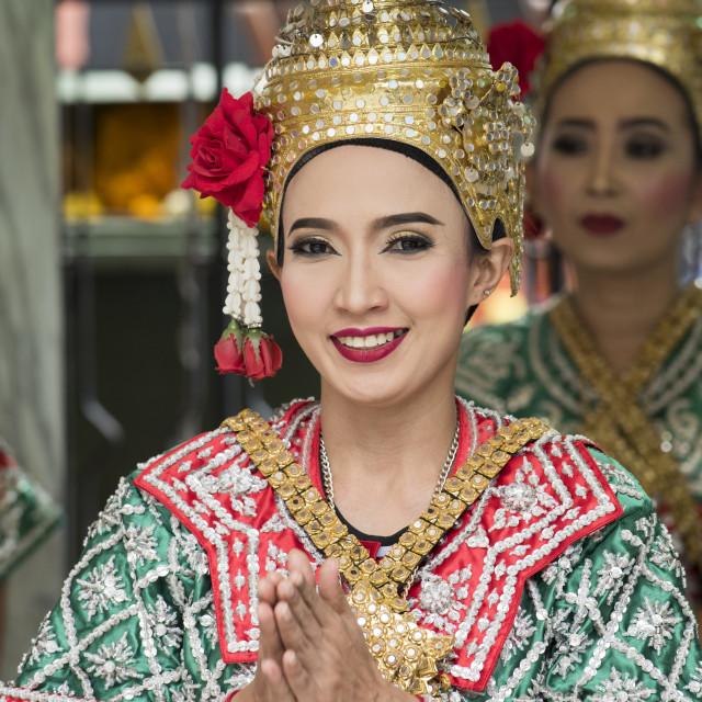 """Girls dressed in traditional dancing costume, Bangkok, Thailand,"" stock image"