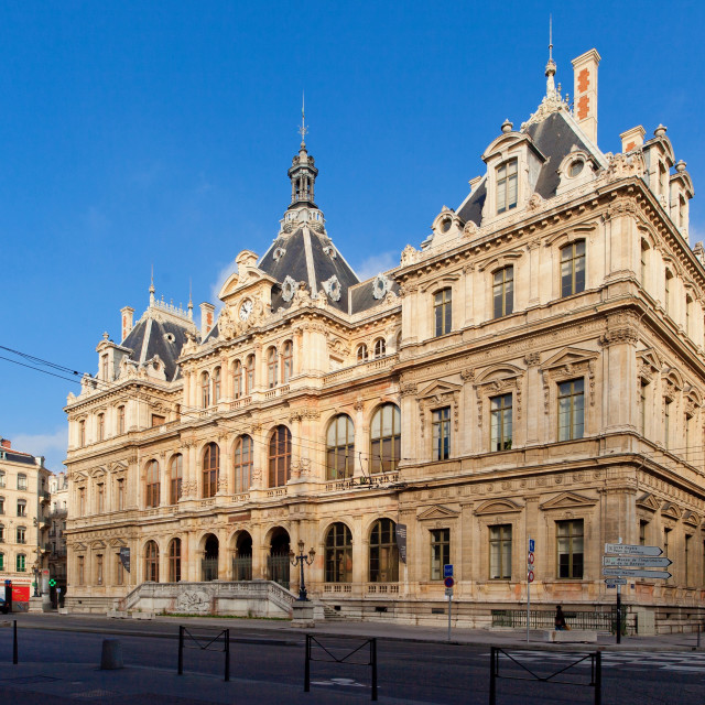 """""""Palace of the stock exchange, Lyon, France"""" stock image"""