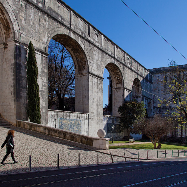 """Old Aqueduct, Lisbon, Portugal"" stock image"