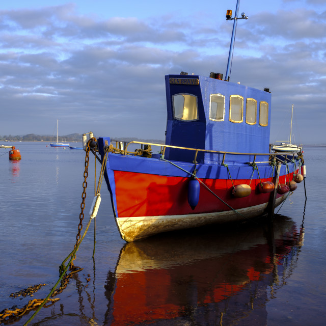 """""""Boat moored on the shoreline of the calm Exe Estuary, Exmouth, Devon, UK"""" stock image"""
