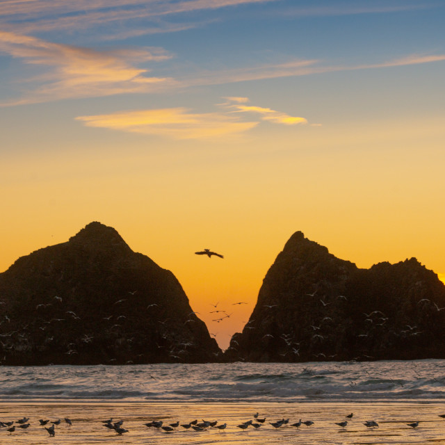 """Sunset in Holywell Bay Cornwall"" stock image"
