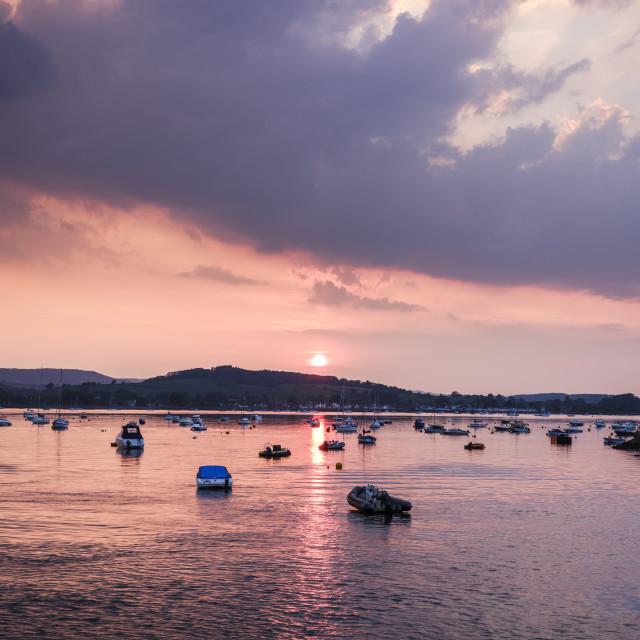 """""""Sun sets over Starcross across the River Exe, Exmouth, Devon, UK"""" stock image"""