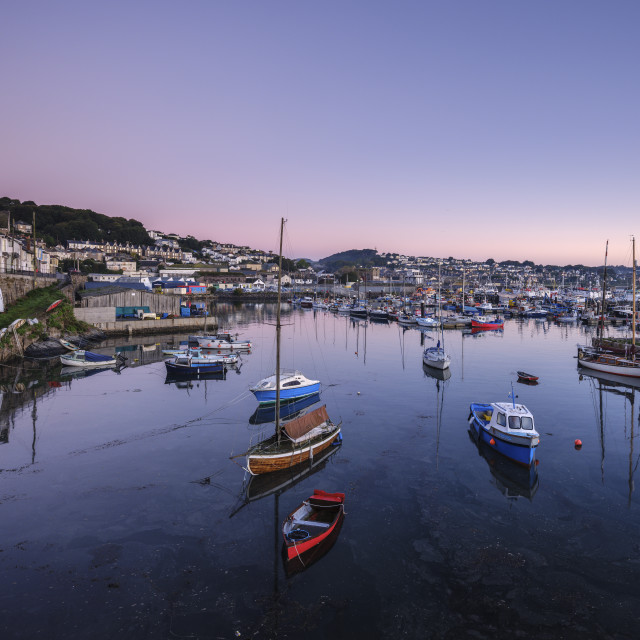 """Twilight looking across the inner harbours at the fishing port of Newlyn,..."" stock image"