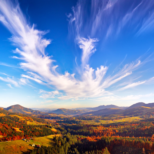 """""""Panoramic view of autumn mountain valley. Colorful fall woodland, sky with clouds"""" stock image"""