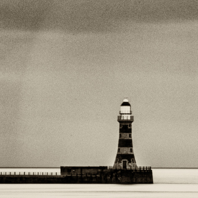 """Roker Pier and Lighthouse in Sepia"" stock image"