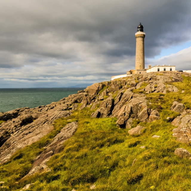 """Ardnamurchan Point Lighthouse standing proud - Portrait Format."" stock image"