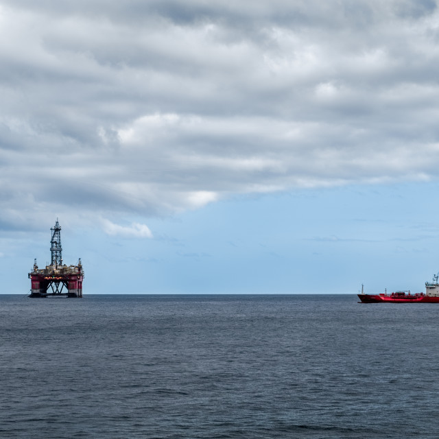 """Oil station in the middle of the sea, near Tenerife"" stock image"
