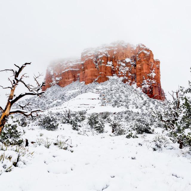 """Snow on Courthouse Butte in Sedona, Arizona"" stock image"