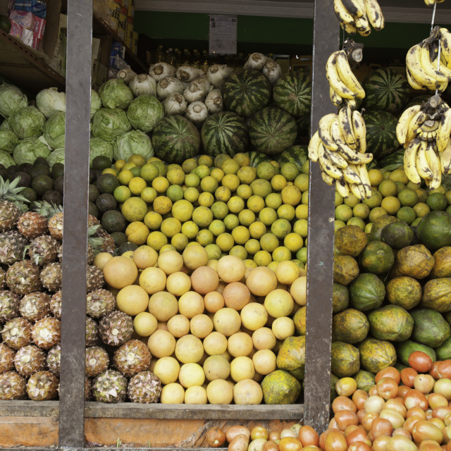 """fruit stacked up at a fruit stand in Addis Ababa, Ethiopia"" stock image"