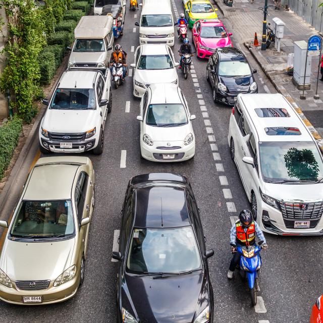 """""""Heavy traffic on Sukhumvit Road, Bangkok, Thailand"""" stock image"""