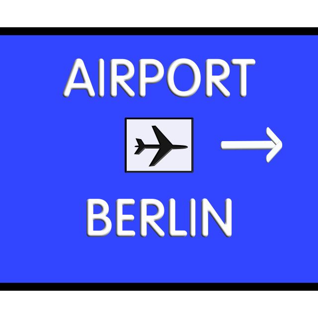 """Road sign Berlin-Tegel Germany Airport Highway"" stock image"