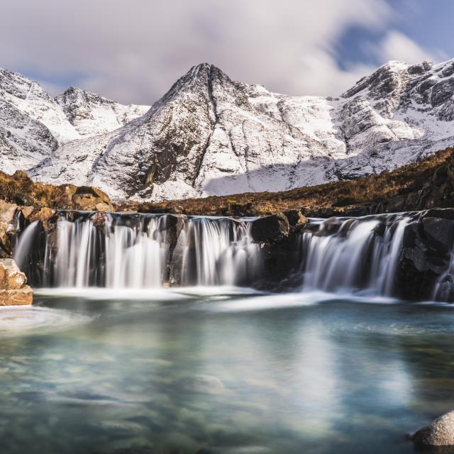 """Cascades beneath the snow-covered Black Cuillin, Fairy Pools, Glen Brittle,..."" stock image"