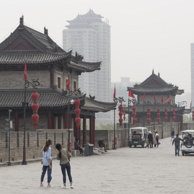 """Xi'an City Wall, Shaanxi Province, China, Asia"" stock image"