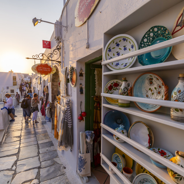 """""""Shops selling souvenirs at Oia at sunset, Santorini, Greek Islands, Greece,..."""" stock image"""