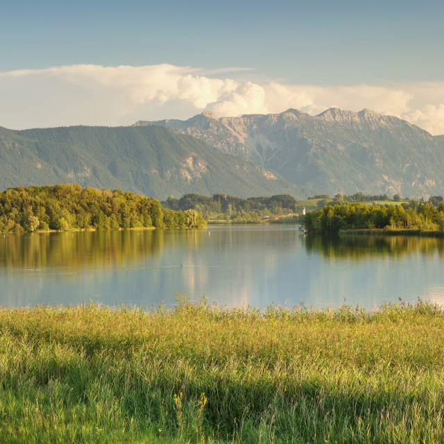 """View over Riegsee Lake to Zugspitze and Wettersteingebirge Mountains, Upper..."" stock image"