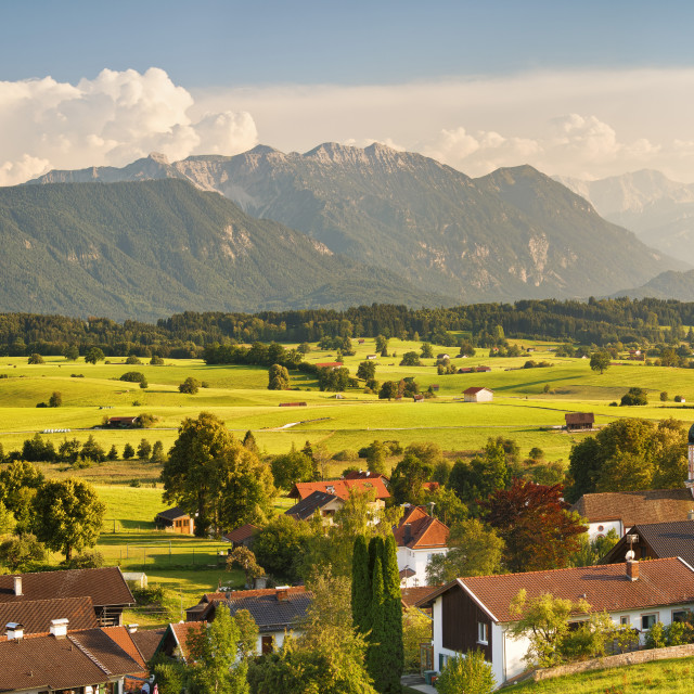 """View from Aidlinger Hoehe over Aidling to Wettersteingebirge and Zugspitze..."" stock image"