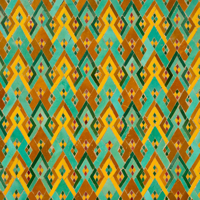 """Detail of traditional, brightly coloured Moroccan zellij tiling in the lobby..."" stock image"