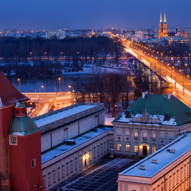 """""""Warsaw Cityscape by Night in Poland"""" stock image"""