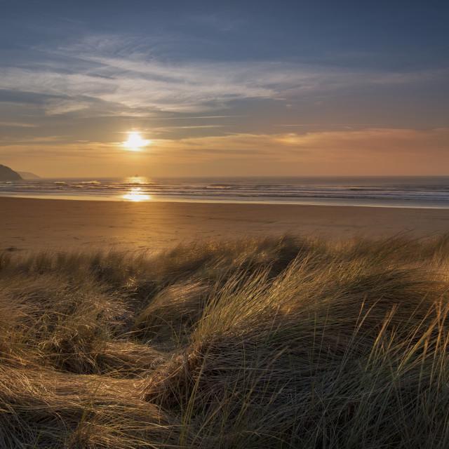 """Sunset at Perranporth Cornwall"" stock image"