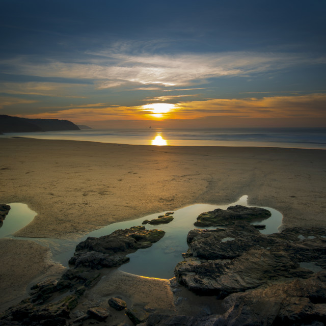 """""""Gorgeous sunset looking across perran beach at Perranporth Corn"""" stock image"""