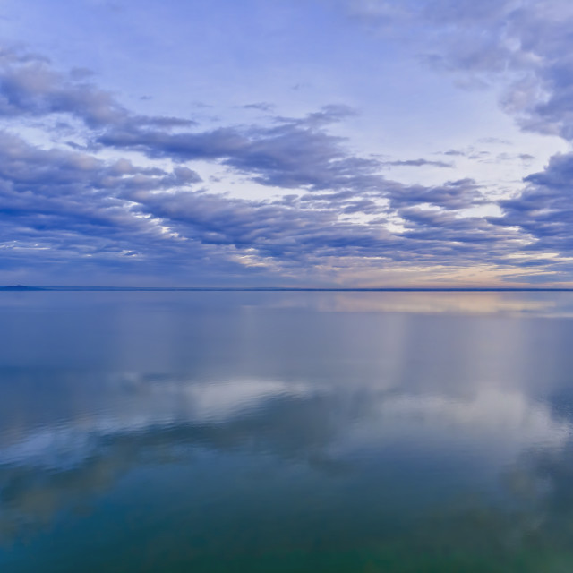 """Nice clouds reflection on the lake Balaton in Hungary"" stock image"