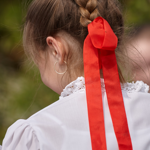 """Young dancer girl in a festival in traditional Hungarian costume"" stock image"