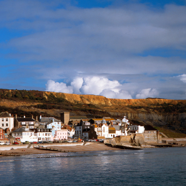 """Lyme Regis and Clouds"" stock image"