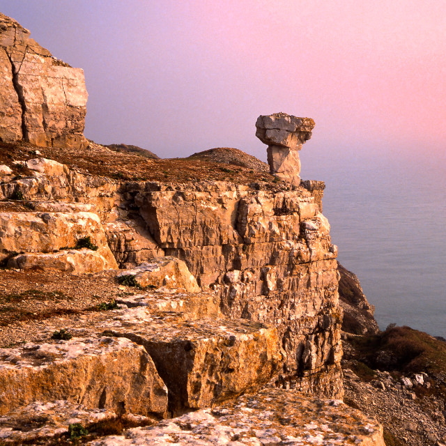 """Rocks at St Aldhelms Head"" stock image"