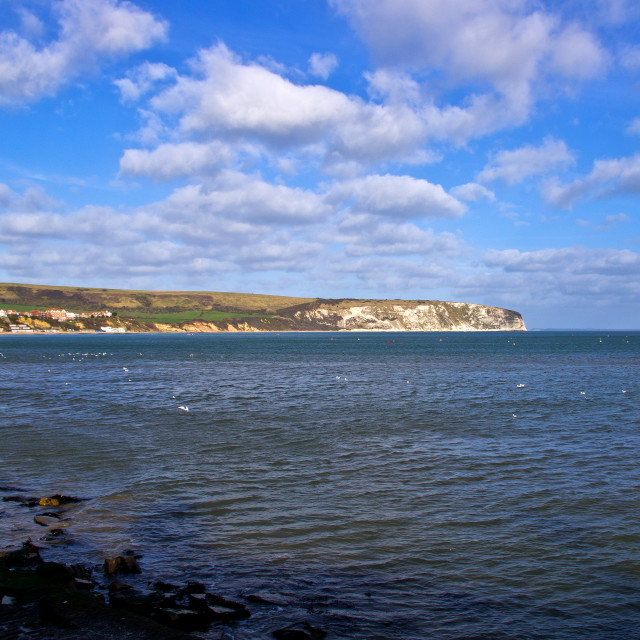 """View Across Swanage Bay"" stock image"