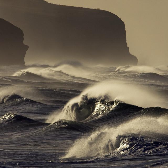 """Stormy waves East Coast, New Zealand."" stock image"