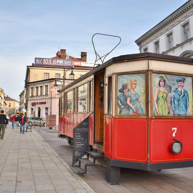 """""""Tarnow: Cafe Tramwaj"""" stock image"""