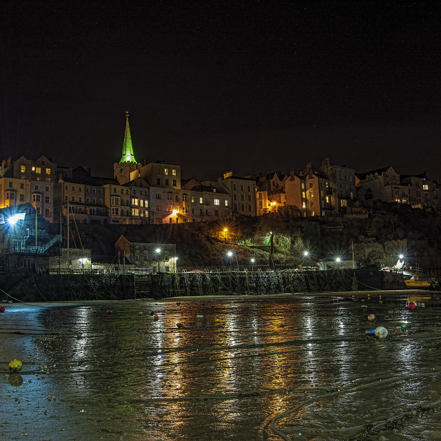 """Low tide in Tenby Harbour"" stock image"
