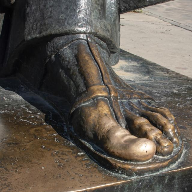 """Foot of Ivan Mestrovic's sculpture of Gregory of Nin (Grgur Ninski)"" stock image"