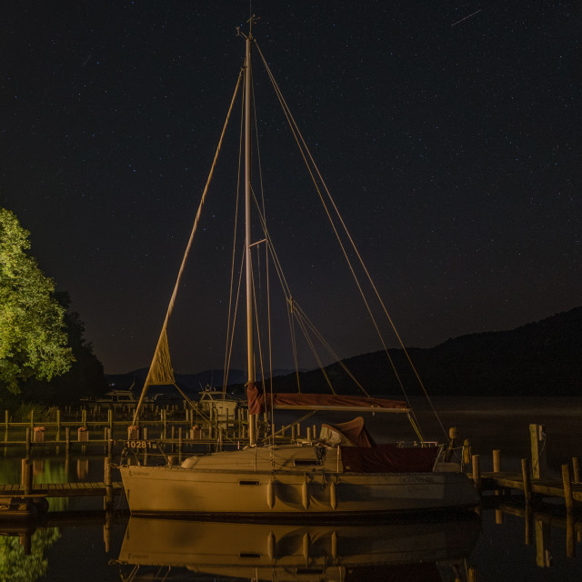 """""""A starlit sky and boat Windermere"""" stock image"""