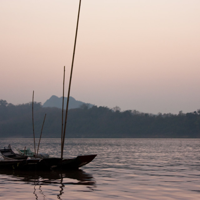 """Boat on Mekong river - Laos"" stock image"