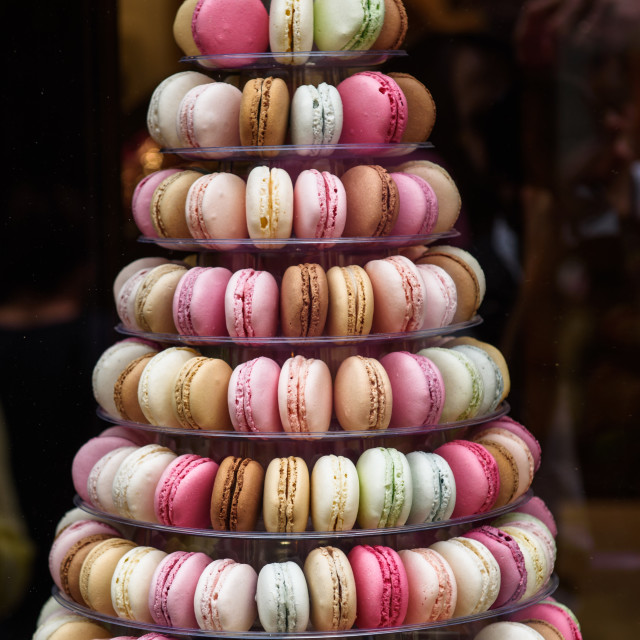 """""""French macaroons pyramid stand."""" stock image"""