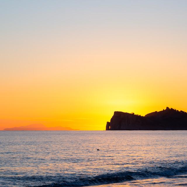 """Sunset in West Turkish coast in Sarigerme village area"" stock image"