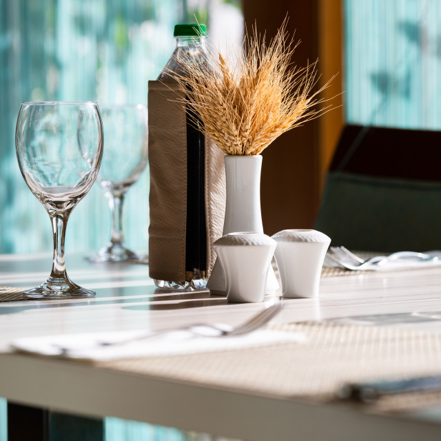 """""""Hotel restaurant table setting with cute decoration"""" stock image"""