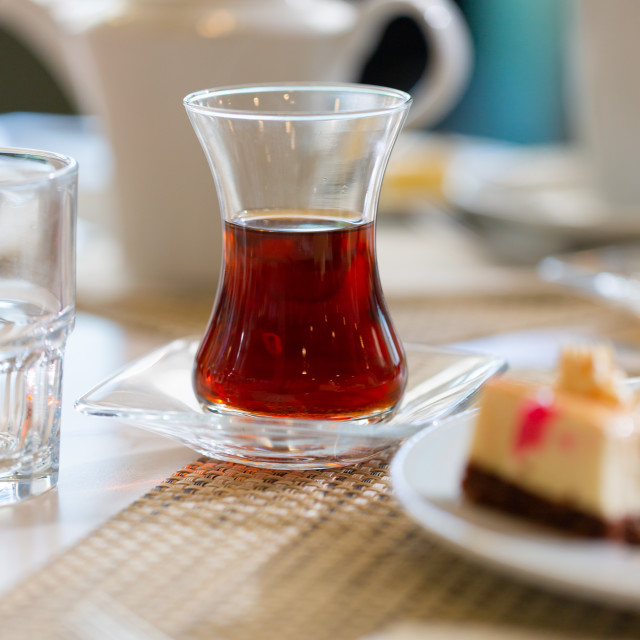 """""""Turkish tea in traditional shape glass on table in restaurant"""" stock image"""