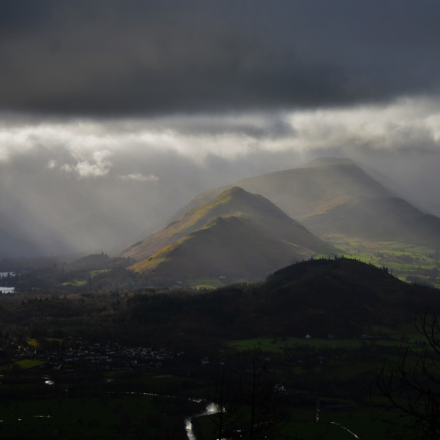"""Sun on the fells"" stock image"