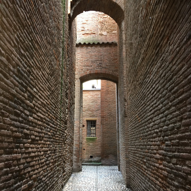 """Alley in Basilica Saint-Sernin, Toulouse, France"" stock image"