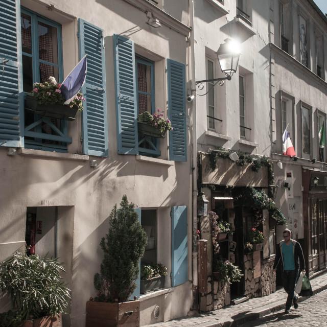 """Paris back street, heading home"" stock image"