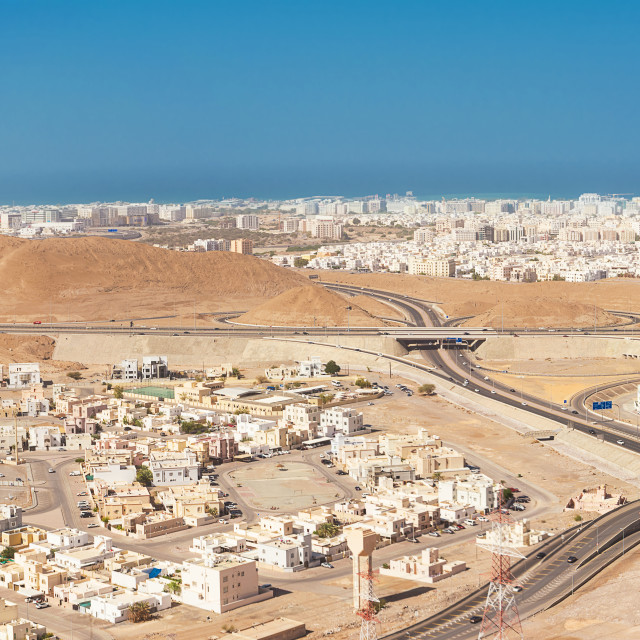 """Top view of the city of Muscat"" stock image"