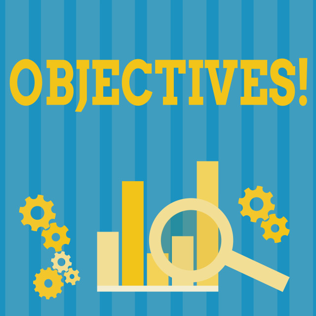 """""""Handwriting text Objectives. Concept meaning Goals planned to be achieved..."""" stock image"""