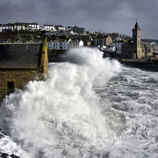 """Stormy Porthleven."" stock image"