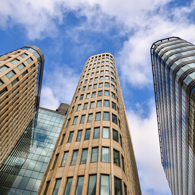 """Three skyscrapers modern building"" stock image"