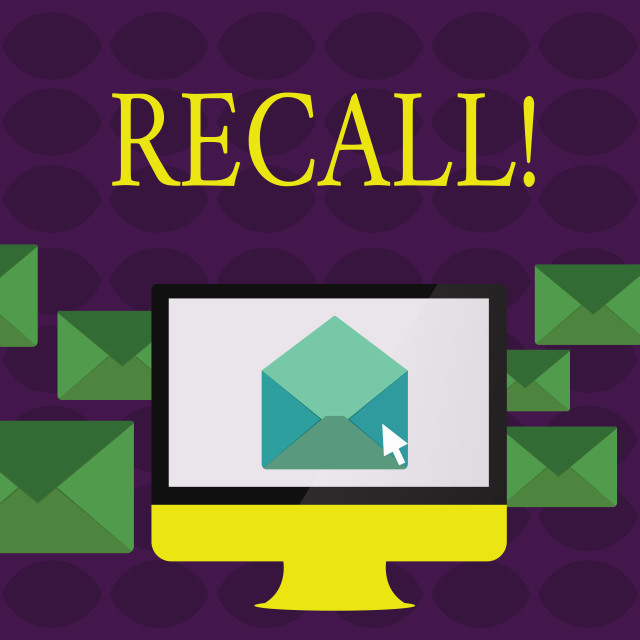 """""""Text sign showing Recall. Conceptual photo Bring back to memory Ordering the..."""" stock image"""