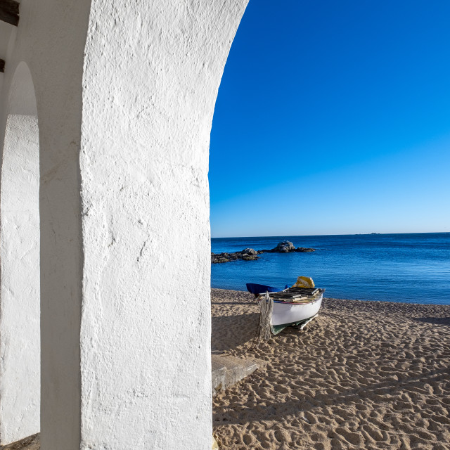 """""""Details of the fishing village and white architecture in Calella"""" stock image"""