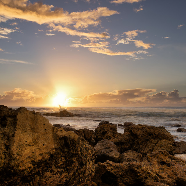 """""""Sunrise at Onemana"""" stock image"""